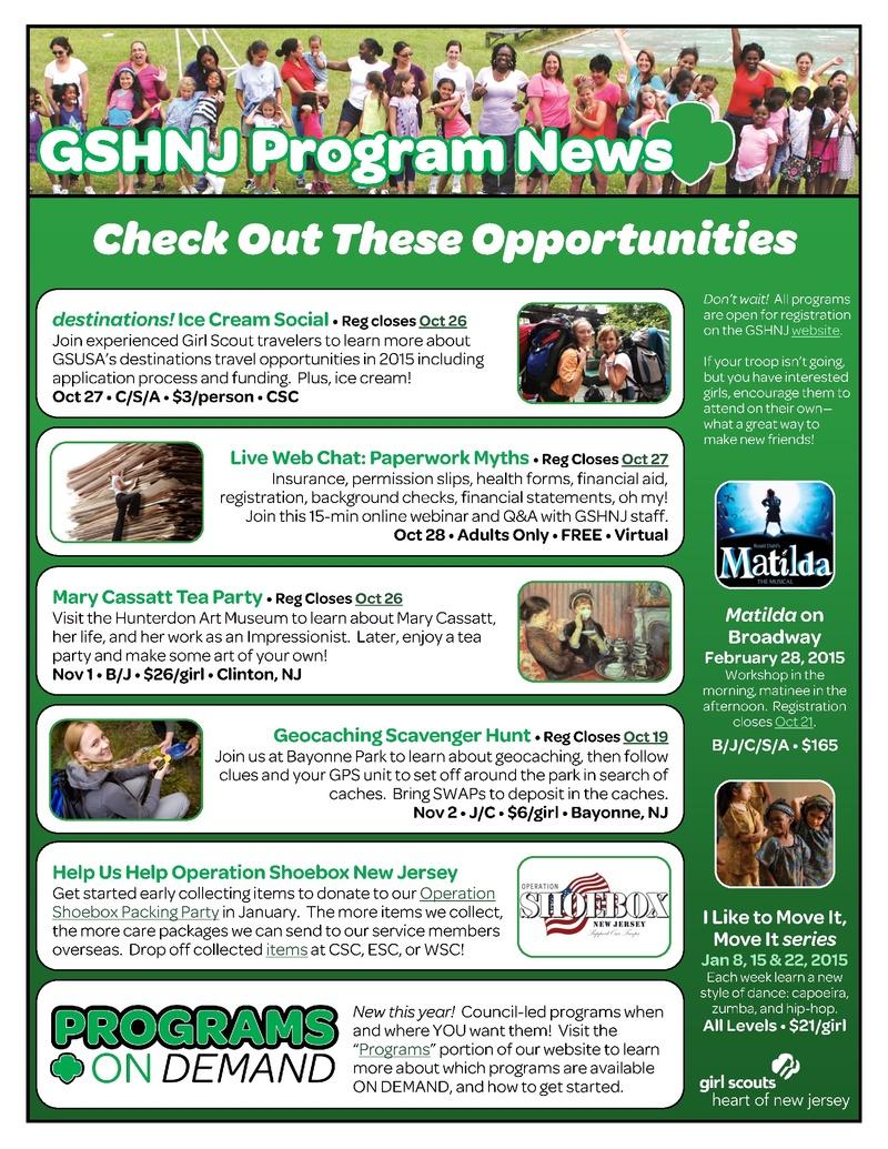 Council Programs - Nutley/Belleville Girl Scouts